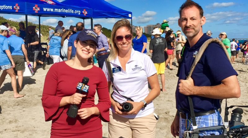 News Team Out To Cover The Turtle Release - Loggerhead Marinelife Center in Juno Beach, Florida